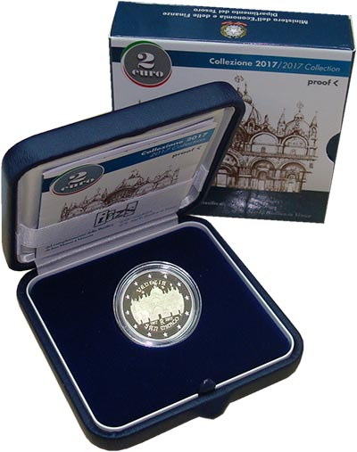 Изображение Подарочные монеты Италия 2 евро 2017 Биметалл Proof