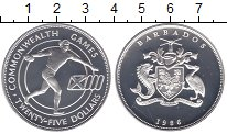 Изображение Монеты Северная Америка Барбадос 25 центов 1986 Серебро Proof