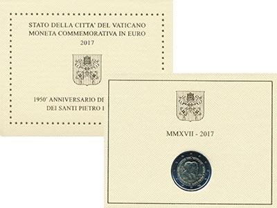 Изображение Подарочные монеты Европа Ватикан 2 евро 2017 Биметалл UNC