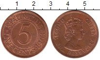 Изображение Монеты Маврикий 5 центов 1964 Бронза UNC