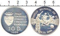 Изображение Монеты Андорра 10 динерс 1989 Серебро Proof Чемпионат  Европы  п