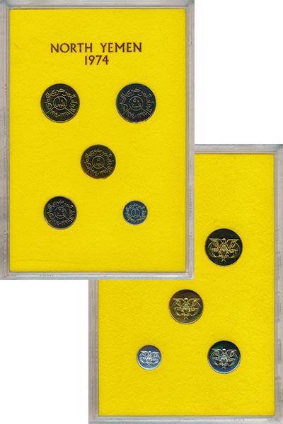 Изображение Подарочные монеты Азия Йемен Набор 1974 года 1974  UNC