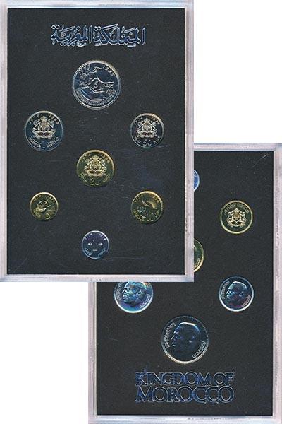 Изображение Подарочные монеты Африка Марокко Набор 1974-75 годов 0  UNC