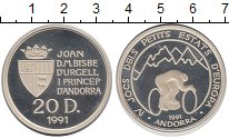 Изображение Монеты Андорра 20 динерс 1991 Серебро Proof- Игры малых стран Евр