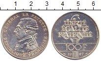 Изображение Монеты Франция 100 франков 1987 Серебро XF+ Генерал  Ла  Файетт