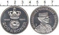 Изображение Монеты Дания 200 крон 1990 Серебро Proof 50-летие королевы Ма