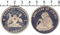 Изображение Монеты Уганда 1000 шиллингов 2002 Посеребрение Proof-