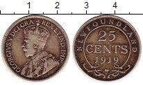 Изображение Монеты Ньюфаундленд 25 центов 1919 Серебро XF-