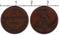Изображение Монеты Ганновер 1 пфенниг 1861 Медь XF-