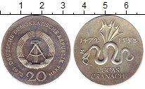 Изображение Монеты ГДР 20 марок 1972 Серебро UNC- Лукас  Гранах