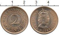 Изображение Мелочь Африка Маврикий 2 цента 1969 Медь XF