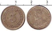 Изображение Монеты Стрейтс-Сеттльмент 5 центов 1919 Серебро VF