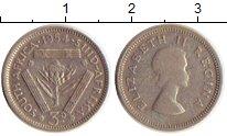 Изображение Монеты Африка ЮАР 3 пенса 1954 Серебро VF