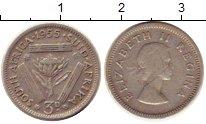 Изображение Монеты ЮАР 3 пенса 1955 Серебро VF