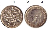 Изображение Монеты Европа Великобритания 3 пенса 1936 Серебро XF