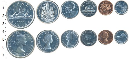 Изображение Наборы монет Канада Канада 1963 1962  UNC-