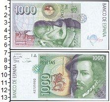 Изображение Банкноты Европа Испания 1000 песет 1992  UNC