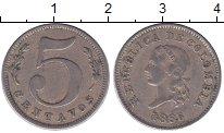 Изображение Монеты Колумбия 5 сентаво 1886 Медно-никель XF