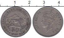 Изображение Монеты Восточная Африка 1/2 шиллинга 1948 Медно-никель XF лев на фоне гор - Ге