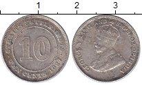 Изображение Монеты Стрейтс-Сеттльмент 10 центов 1927 Серебро XF