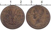 Изображение Монеты Французская Африка 10 франков 1956 Латунь XF