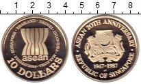 Изображение Монеты Азия Сингапур 10 долларов 1987 Серебро UNC