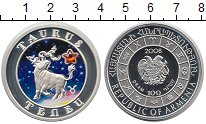 Изображение Монеты Армения 100 драм 2008 Серебро Proof Телец