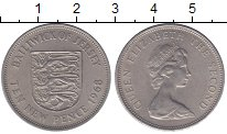 Изображение Монеты Остров Джерси 10 пенсов 1968 Медно-никель XF Елизавета II