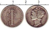 Изображение Монеты Северная Америка США 1 дайм 1942 Серебро XF