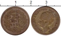 Изображение Монеты Нидерланды 25 центов 1939 Серебро VF