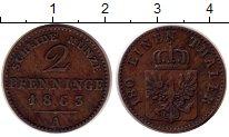 Изображение Монеты Германия Пруссия 2 пфеннига 1863 Медь XF