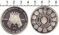 Изображение Монеты Южная Америка Уругвай 50000 песо 1991 Серебро Proof-