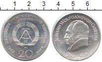 Изображение Монеты ГДР 20 марок 1969 Серебро UNC- Иоганн Вольфганг фон