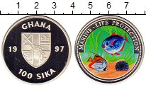 Изображение Монеты Гана 100 сика 1997 Серебро Proof