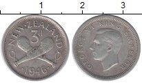 Изображение Монеты Новая Зеландия 3 пенса 1946 Серебро XF Георг VI
