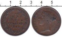 Изображение Монеты Стрейтс-Сеттльмент 1 цент 1862 Медь XF Виктория