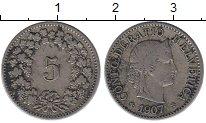 Изображение Монеты Европа Швейцария 5 рапп 1907 Медно-никель XF-