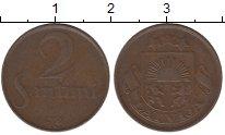 Изображение Монеты Латвия 2 сантима 1922 Бронза XF-