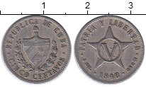 Изображение Монеты Куба 5 сентаво 1946 Медно-никель XF Герб Кубы