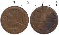 Изображение Монеты Европа Швейцария 2 раппа 1951 Бронза XF
