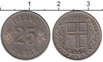 Изображение Монеты Европа Исландия 25 аурар 1951 Медно-никель XF