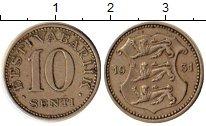 Изображение Монеты Европа Эстония 10 сенти 1931 Медно-никель XF