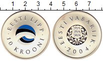 Изображение Монеты Европа Эстония 10 крон 2004 Серебро UNC-