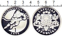 Изображение Монеты Латвия 1 лат 2001 Серебро Proof