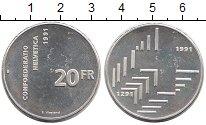 Изображение Монеты Швейцария 20 франков 1991 Серебро Proof