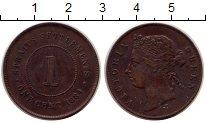 Изображение Монеты Стрейтс-Сеттльмент 1 цент 1884 Медь XF Виктория.