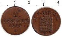 Изображение Монеты Саксония 2 пфеннига 1850 Медь XF