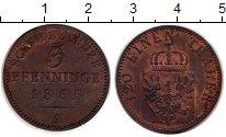 Изображение Монеты Германия Пруссия 3 пфеннига 1865 Медь XF