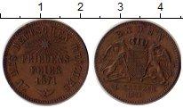 Изображение Монеты Германия Баден 1 крейцер 1871 Медь XF