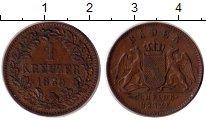 Изображение Монеты Баден 1 крейцер 1869 Медь XF Фридрих I